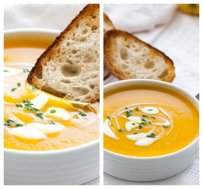 gemüsesuppe püriert, suppe mit kürbiss garniert mit creme fraiche und gehakte petersillie