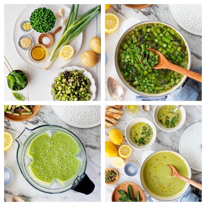 gemüsesuppe püriert, suppe mit grünen bohnen, zitrone, honig, senf und anderen zutaten
