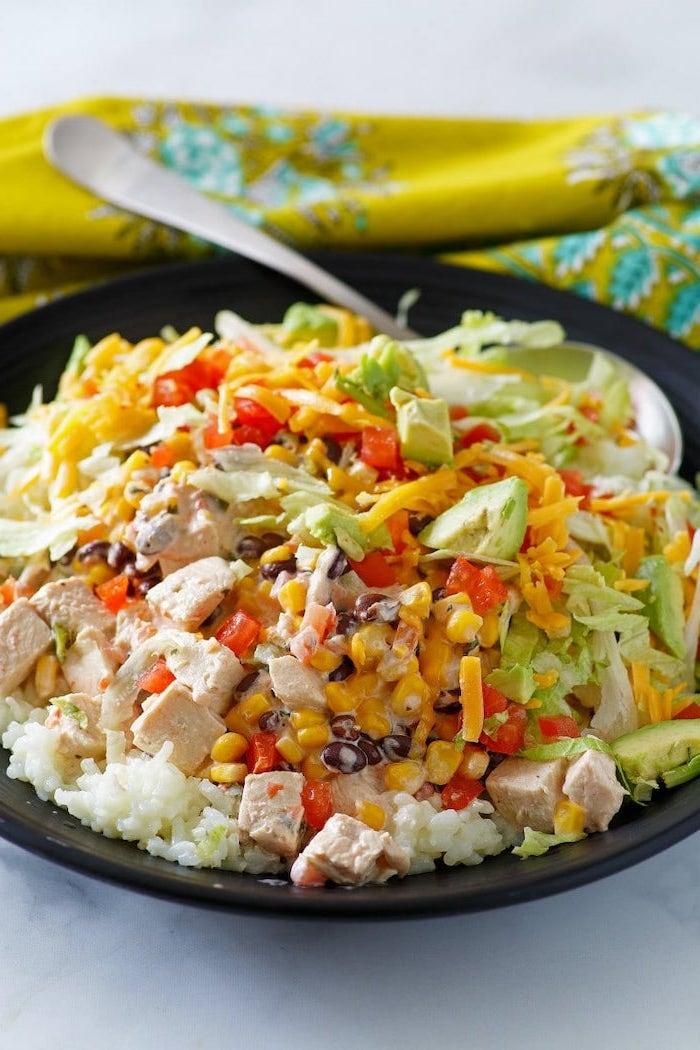 gesundes essen rezepte, reis mit gemüse und käse, abendessne zum abnehmen