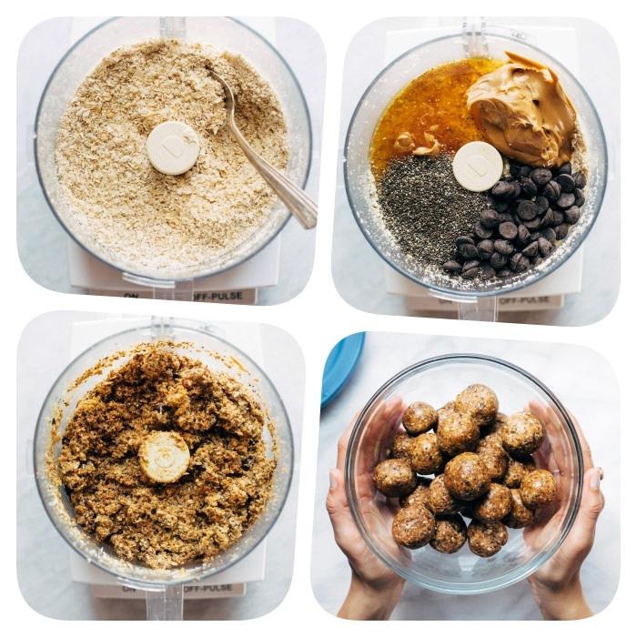 kekse backen, energiebällchen selber machen, keksenteig mit schokoaldenchips, chia samen, erdnussbutter und honig