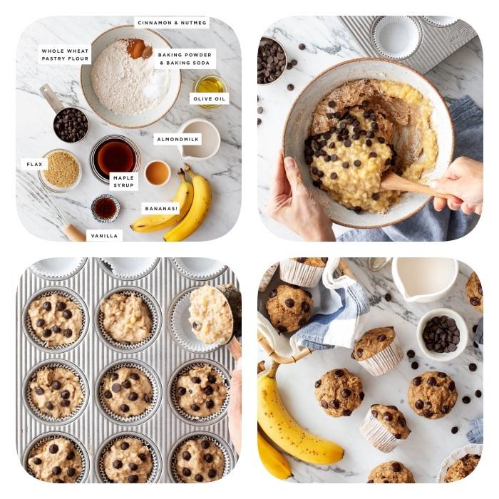 kekse backen rezepte, keksenteig mit bananen, honig, vanille, haferflocken, schokoladenchips und mehl