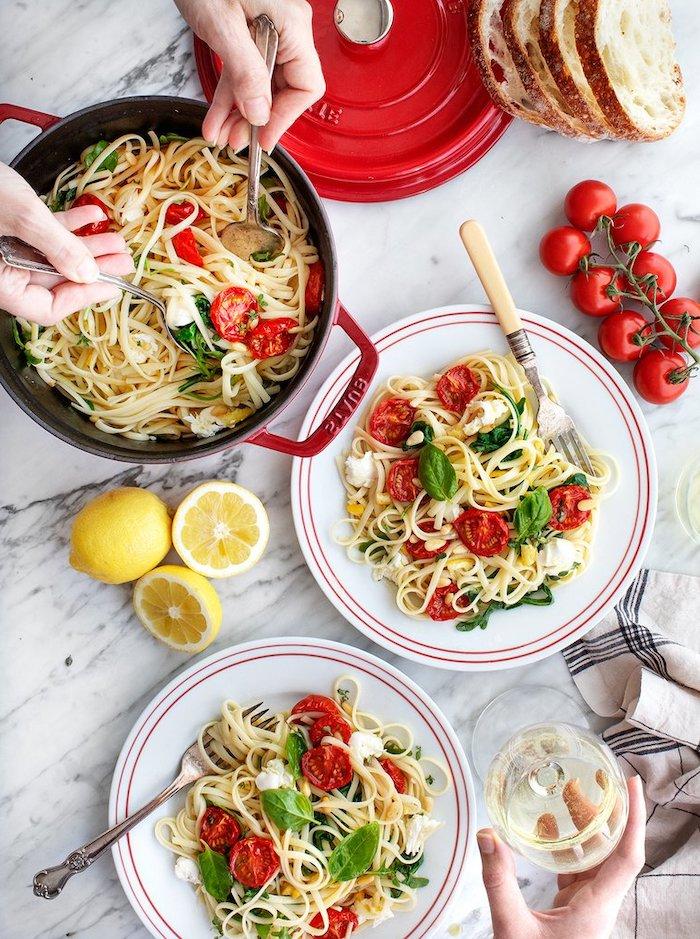 pasta mit cherry tomaten, basilikum, zitronen und ziegenkäse, was koche ich heute abend