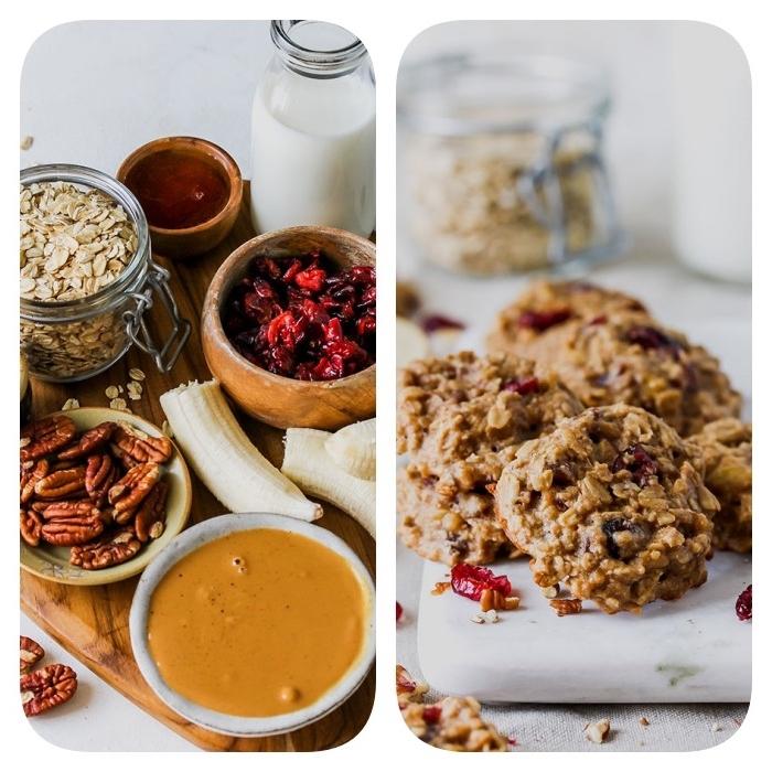 gesunde kekse mit haferflocken, erdnussbutter, beeren und pekannüssen, plätzchen rezept einfach