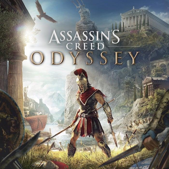 männer mit schwerten und ein großer fluegender adler, der neue streaming dienst für spiele stadia von google , poster zu dem spiel assassins creed ody
