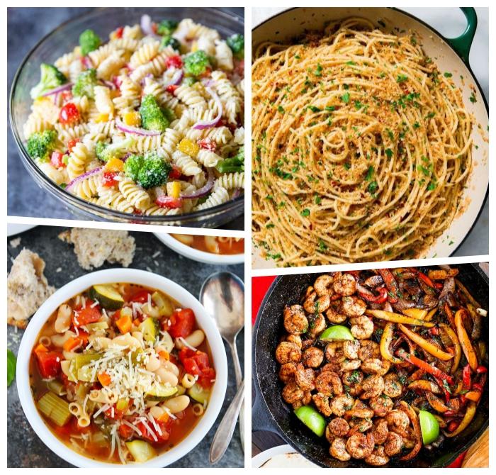 was essen ich heute abend, salat aus pasta und gemüse, suppe mit paprikas, garnelen mit limetten