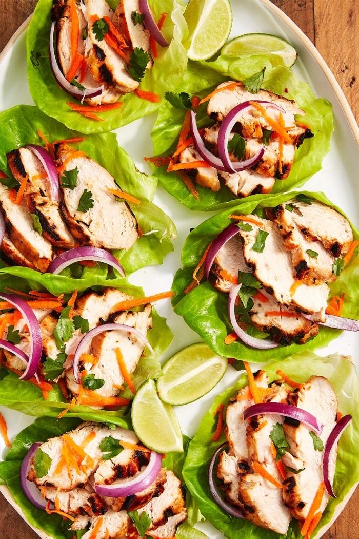 was koche ich heute, gesunde tacos aus salatblätter, low carb rezepte, gegrillte hänchenbrust