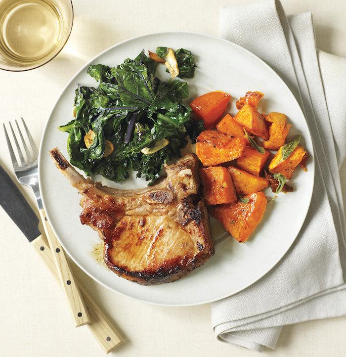 rezepte unter 30 minuten, was soll ich heute kochen, fleisch mit butterkürbis und spinat