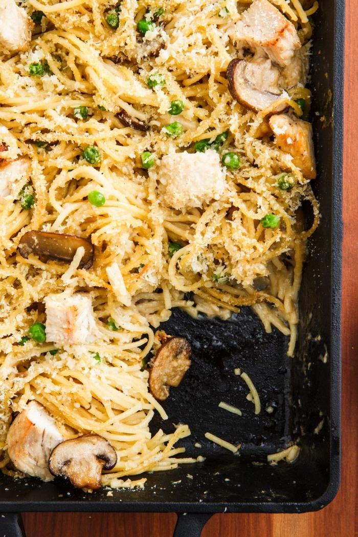 was soll ich heute kochen, pasta mit wurst, pilzen und grünen bohnen, mittagessen ideen