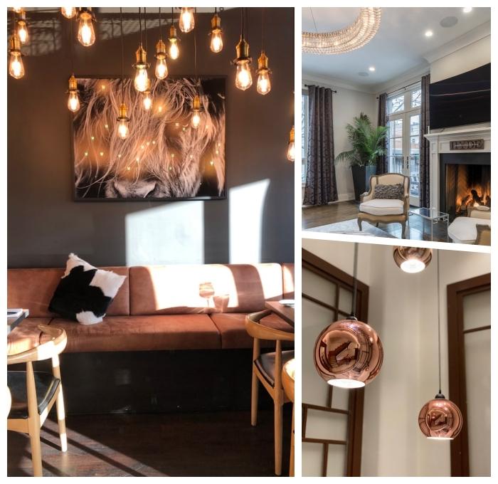 wohnzimmer gestalten, moderne lichtquellen, akzentbeleuchtung einsetzen, hängelampen
