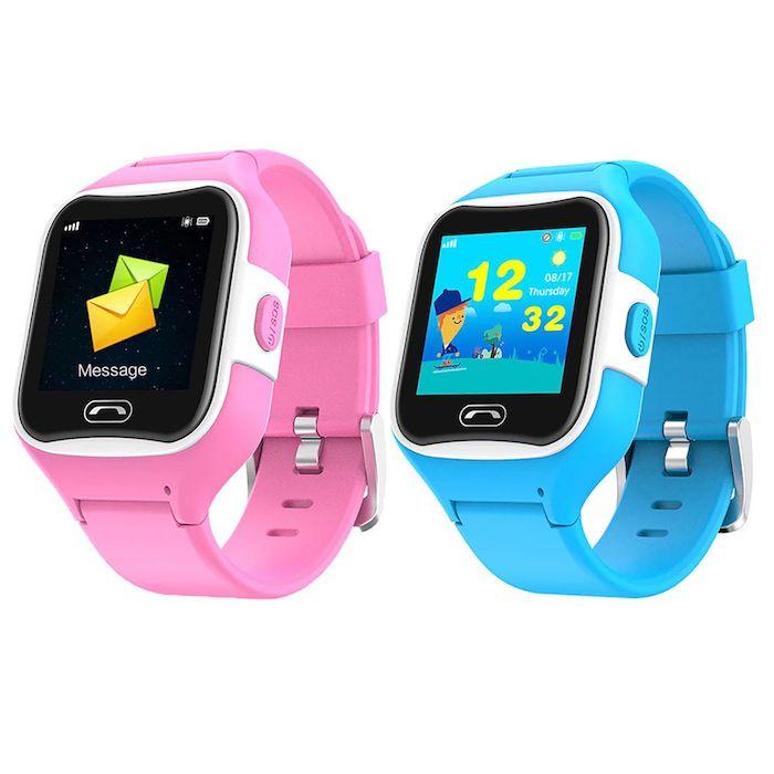 die smartwatch Sma-Watch-M2, zwei uhren für kinder, eine uhr mit einem blauen armband und eine rosafarbene uhr mit schwarzem bildschirm