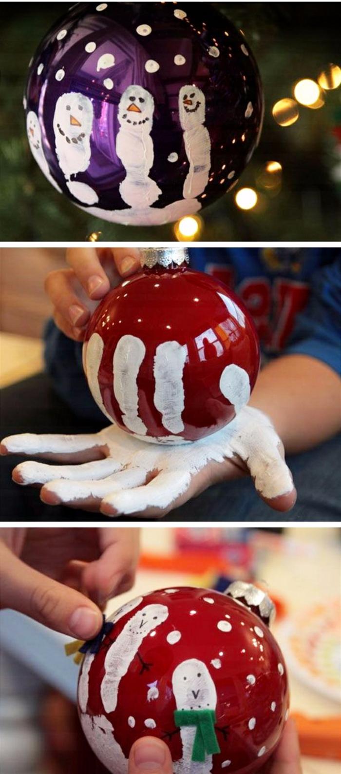 Dekoration für Weihnachten, Kugeln in lila und rot, Handgemalt mit Kinderhandabdruck, Weihnachtsgeschenk für Großeltern