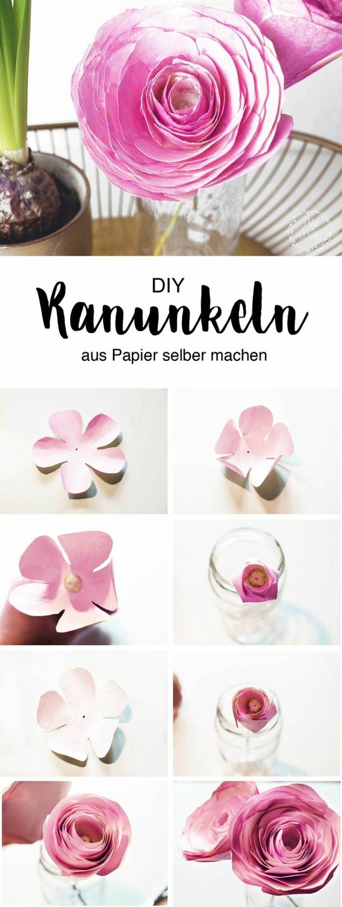 Ranunkel aus Papier in pink Selbermachen, DIY Anleitung, Geschenk zum 90 Geburtstag Oma,