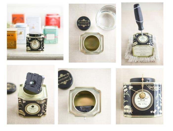 Schritt für Schritt Anleitung zum Selbermachen von Uhr aus Teedose in schwarz, Loch mit einem Schraubenzieher machen, Batterie in der Dose, Geschenke für die Oma