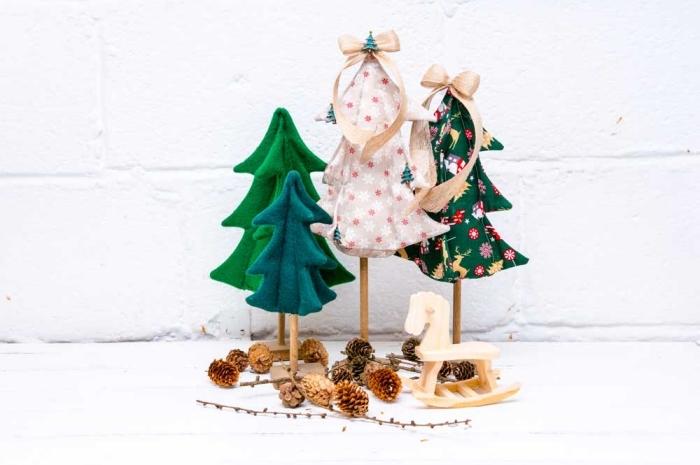 kleine tannenbäume, ausgefallene weihnachtsdeko selber machen, weihnachtliche tischdeko basteln