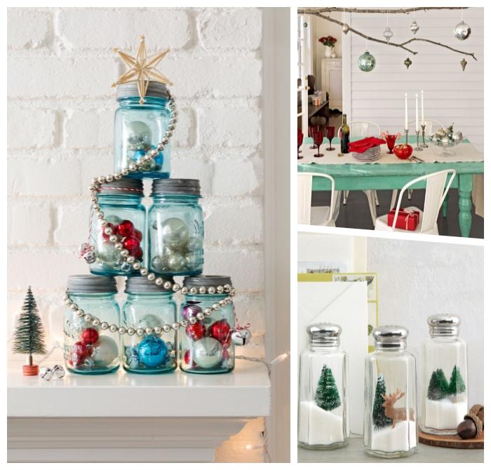 basteln weihnachten erwachsene, blaue einmachgläser gefüllt mit kleinen weihanchtskugeln