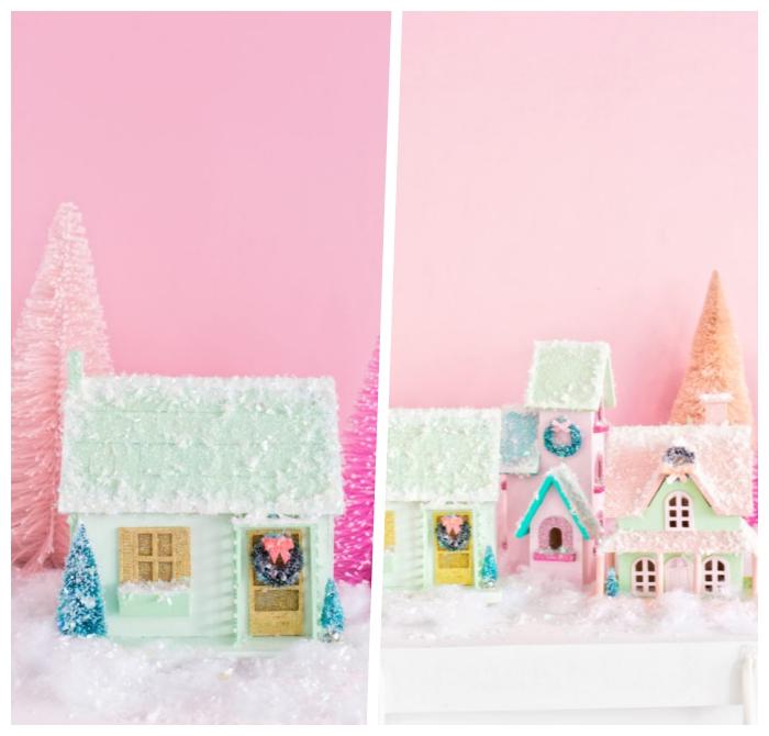 basteln weihnachten erwachsene, kleine bunte häuschen dekroiert mit kunstschnee