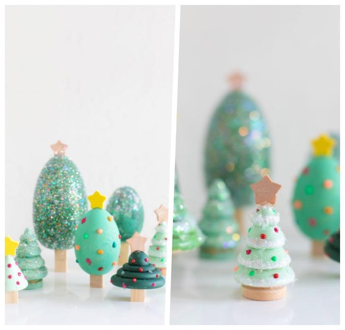 basteln weihnachten erwachsene, tannenbäume in verschiedenen formen und größen