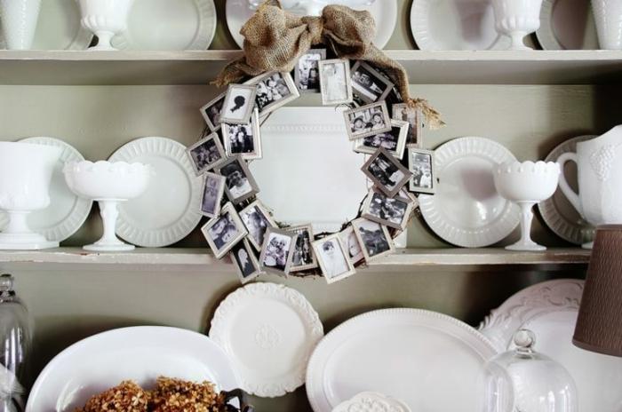 Fotos in Rahmen, Kranz aus Familienfotos, Geschenkideen für Oma, Geburtstagsgeschenk Oma, Teller und Schüssel in weiß