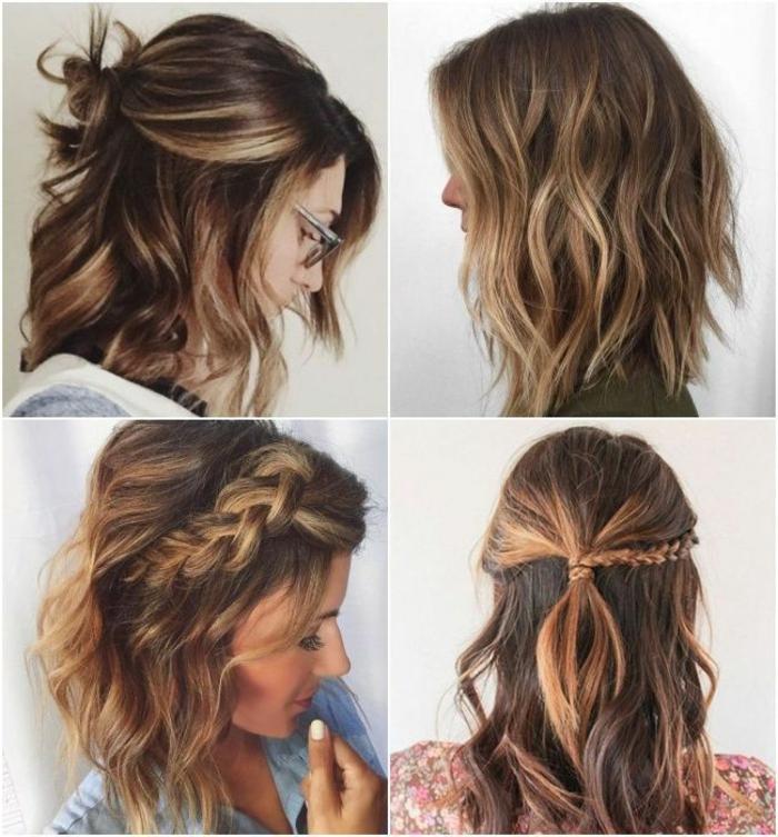 modische kurzhaarfrisuren, collage aus frisuren, braune haare mit blonden Strähnen und Zöpfe, halb hoch halb runter