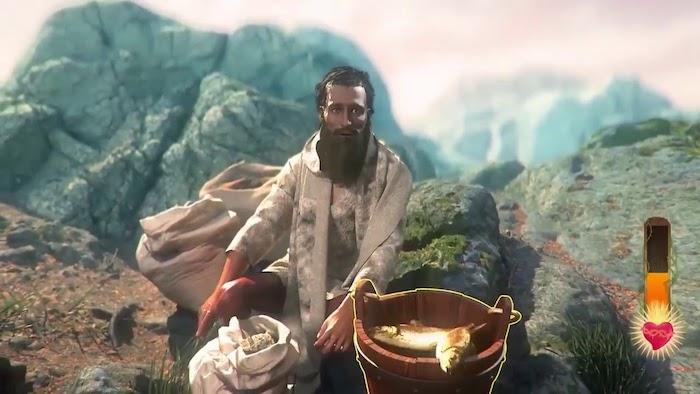 ein armer mann mit einem langen braunen bart und fische, ein gameplay as dem spiel i am jesus christ