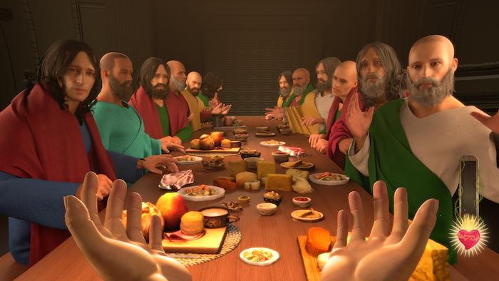 ein gameplay aus dem spiel i am jesus christ, ein tisch aus holz, jesus christuns und ein herz, viele mnner mit bärten