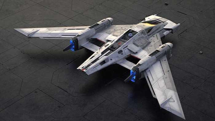 tri wing s 91x pegasus starfighter, in neues graues raumschiff von dem deutschen hersteller porsche