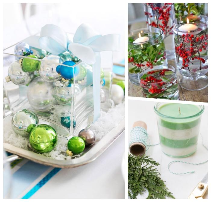 deko ideen weihnachten, glasschale dekoriert mit weihanchtskugeln, festliche tischdekoration