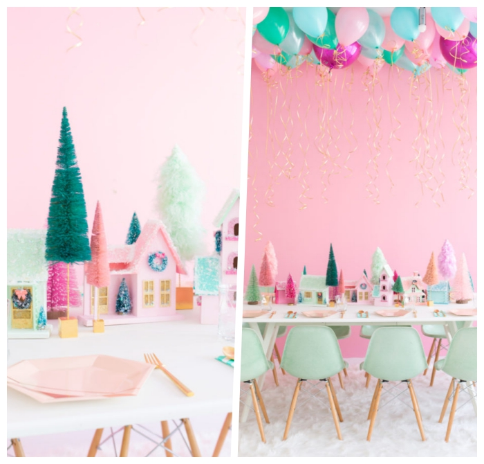 deko ideen weihnachten, kleine bäume, partydeko selber machen, bunte häuschen