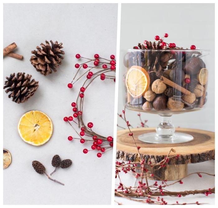 deko ideen weihnachten, selbstgemachte tischdeko, rote beeren, tannenzapfen und zitronenschalen