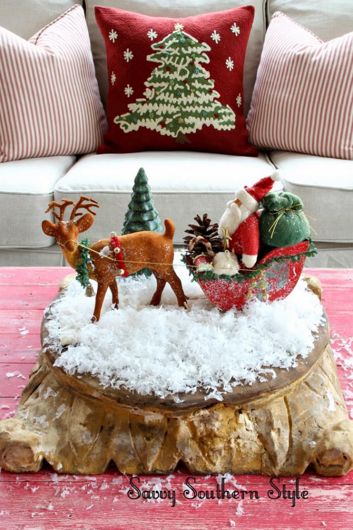 festliche dekoration, deko weihnachten selber machen, deko aus holz, kleine figuren
