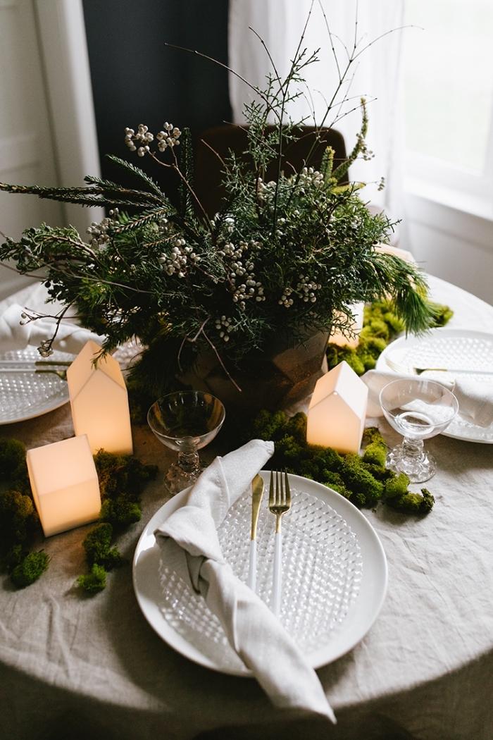 deko weihnachten selber machen, kleine häuschen mit beleuchtung, festliche tischdeko