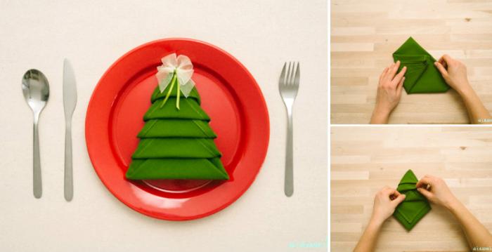 deko weihnachten selber machen, weihnachtliche tischdeko, servietten falten, tannenbaum
