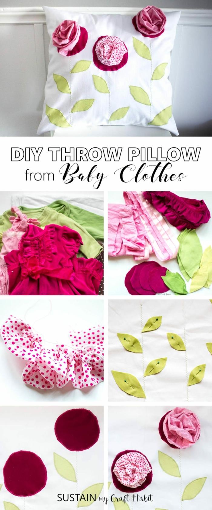 Kissen aus alte Babykleidung, pinke und rote Rosen mit grüne Blätter, DIY Anleitung, Geschenk zum 90 Geburtstag Oma
