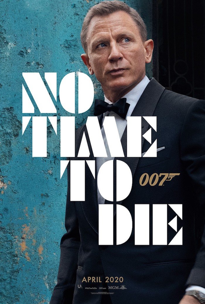 poster zu dem neuen film no time to die mit dem schauspieler daniel craig in der rolle von james bond, keine zeit zu sterben, mann mit fliege