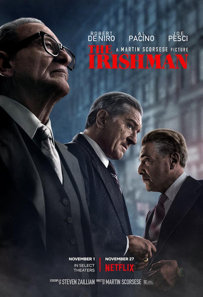 offizieller poster zu dem film the irishman von dem the irishman von dem regisseur martin scorsese, robert de niro, al pacino und joe pesci
