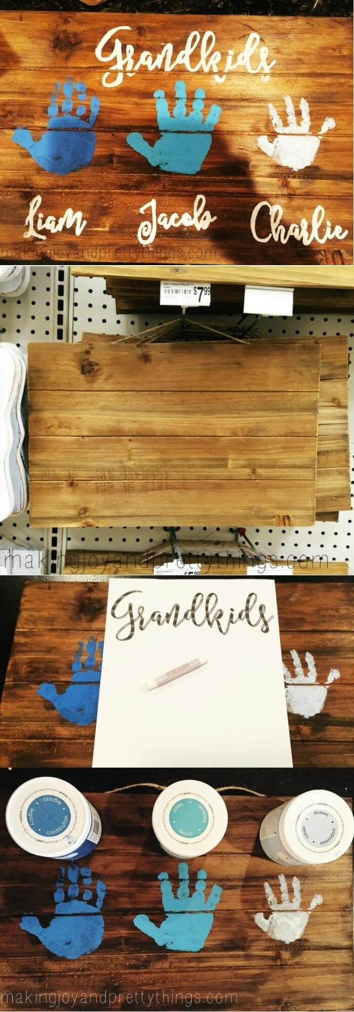 Geschenke für Großeltern von Enkeln, Handabdrücke von Kindern auf Holzbrett in blau und weiß, DIY Anleitung