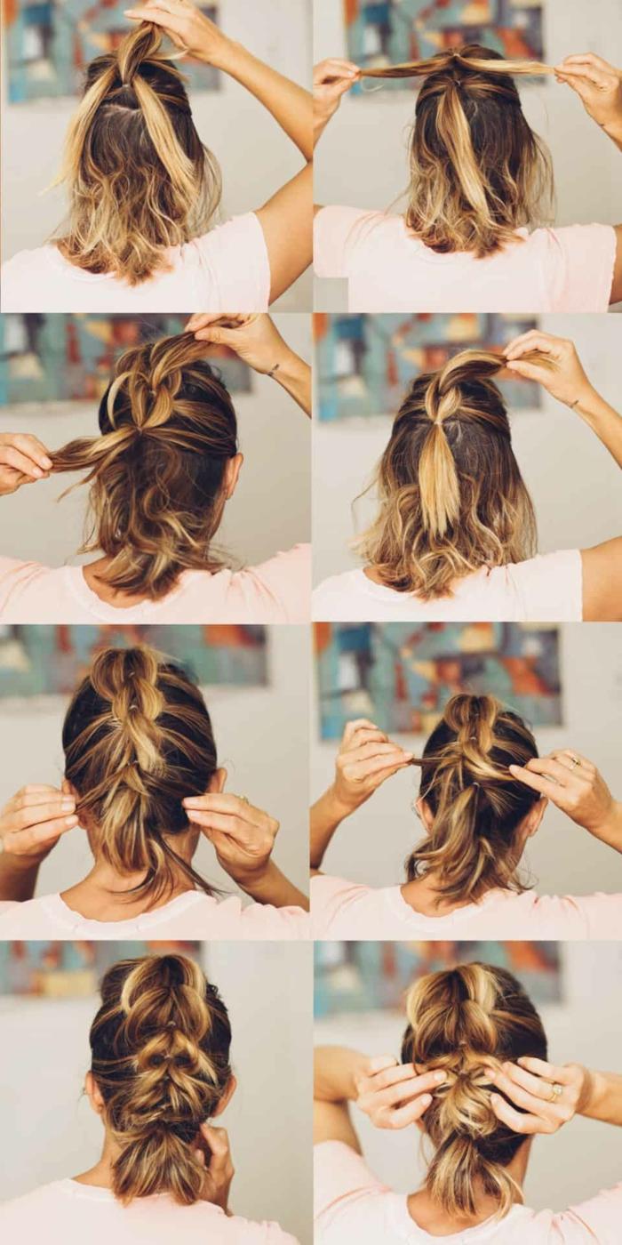diy Anleitung für Hochsteckfrisur mit durchzug Zopf, frauen kurzhaarfrisuren, braune haare mit blonden Strähnen