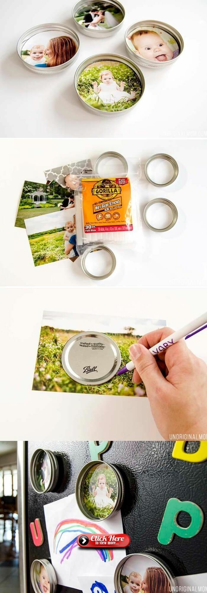 Selbermachen von Magneten mit Familienfotos für den Kühlschrank, Baby und Mutter, Originelle Geschenke für Senioren