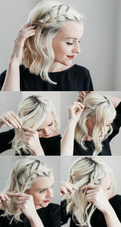 diy anleitung für kurzhaar flechtfrisur, hellblonde Haare, roter Lippenstift, coole kurzhaarfrisuren damen