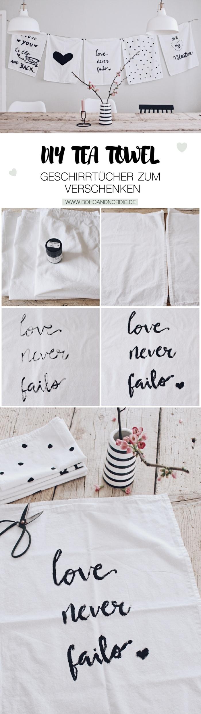Geschirrtücher in weiß mit Beschriftungen, Vase in schwarz und weiß mit pinken Blumen, Anleitung zum Selbermachen, Geschenke zum 80 Geburtstag Oma