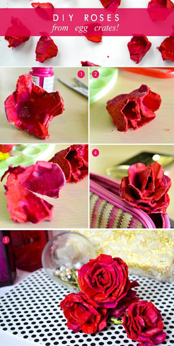 Geburtstagsgeschenk Oma, Rosen aus Eierkarton basteln, DIY Anleitung, Rosen auf Papier Tupfen schwarz und weiß