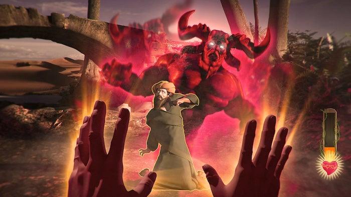 ein mann mit bart und ein großer roter dämon mit langen roten hörnern und weißen augen, die hände von jesus christus