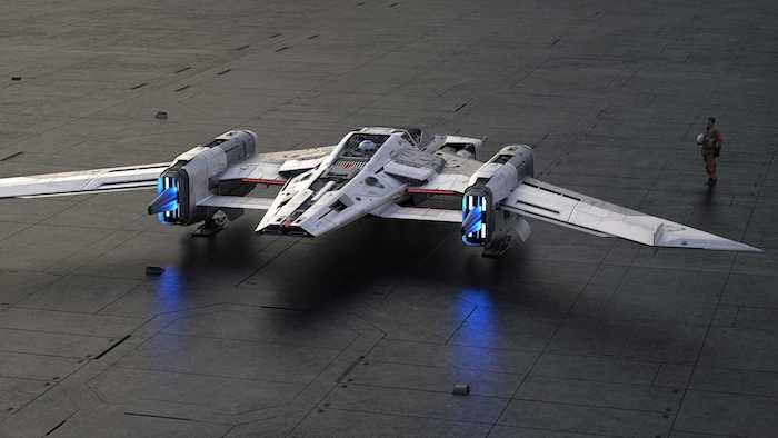 das neue star wars porsche tri wing s 91x pegasus starfighter, ein großes graues raumschiff und ein mann ein flieger