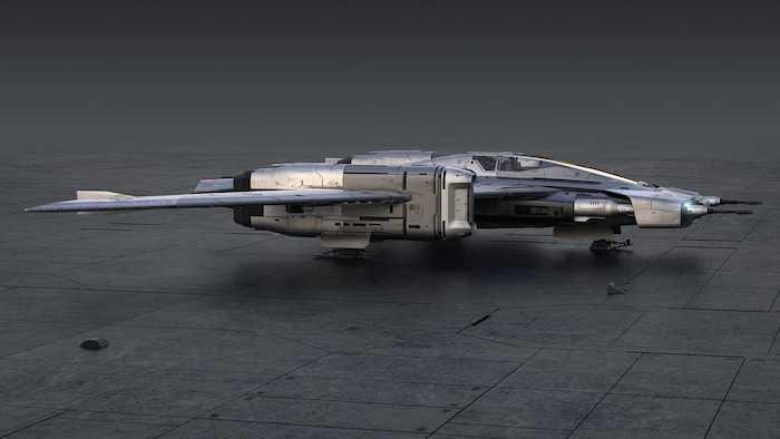 großes graues raumschiff namens star wars porsche tri wing s 91x pegasus starfighter, ein raumschiff von porsche und lucasfilm ltd