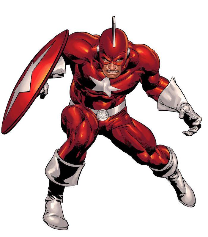 redguardian, ein mann mit einem roten kostüm mit einem großen weißen stern,der marvel film black widow