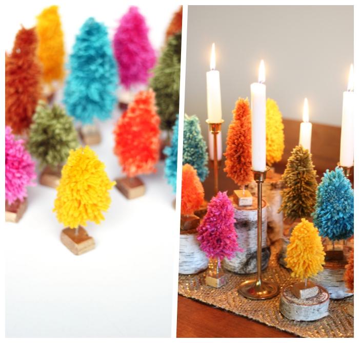 deko ideen weihnachten, kleine weihanchtsbäume aus buntem garn, festliche tischdeko