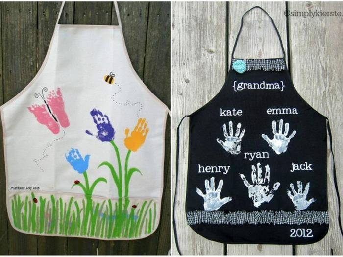 weiße bemalte Schürze mit Schmetterlinge und Blumen und Biene, schwarze bemalte Schürze mit Handabdrücken von Kindern, Senioren Geschenke