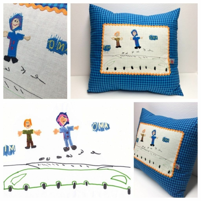 Geschenke für Großeltern von Enkeln, Kinderzeichnung Abdruck aus Kissen, Blauer Kissen aus Quadraten,