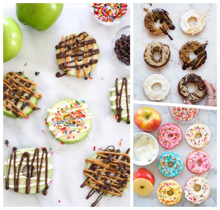 gesundes essen für kinder, gesunde krapfen aus äpfeln garniert mit weißer und milchschokoalde