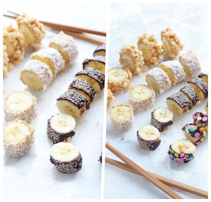 gesundes essen für kinder, partyessen ideen, sushi mit bananen und schokolade